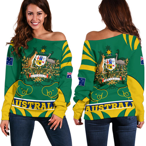 1stAustralia Women's Off Shoulder Sweater - Australian Coat Of Arms Shorts Koala