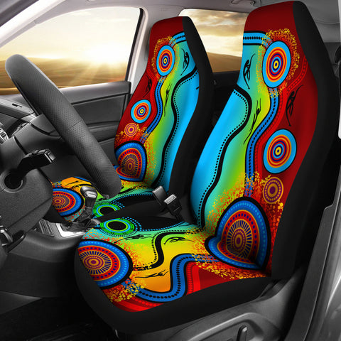 1stAustralia Car Seat Covers - Aboriginal Seat Cover Blue Dream