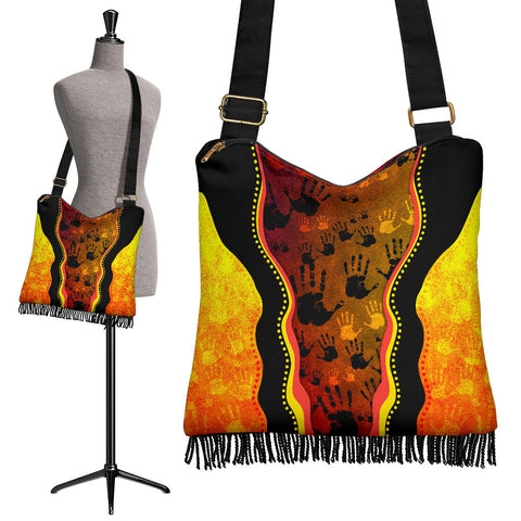1stAustralia Boho Handbag, Aboriginal Rock Painting Hand Art Golden Style