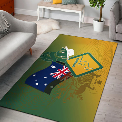 1stAustralia Area Rug - Aus Flag and Coat Of Arms Rug Kangaroo and Koala Sign