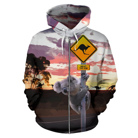 Australia Koala Hoodie (Zip-Up) Kangaroo Sign