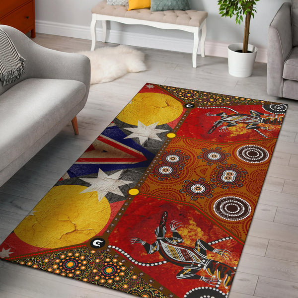 1stAustralia Area Rug - Aboriginal Dot Painting & Flags, Crocodile