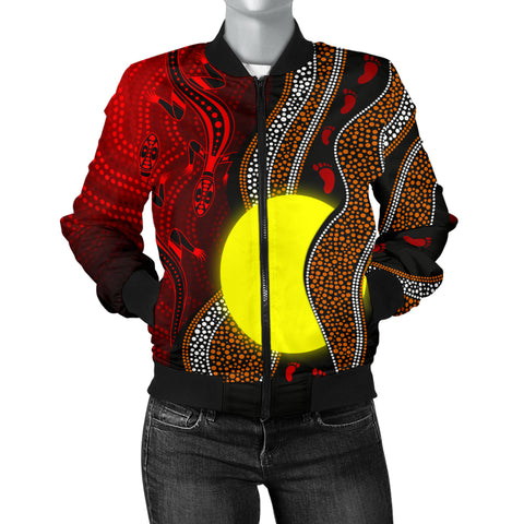 1stAustralia Aboriginal Women Bomber Jacket - Aboriginal Flag Lizard Dot Painting Style