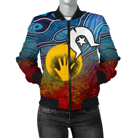 1stAustralia Aboriginal Women's Bomber Jacket - Aboriginal and Torres Strait Islanders Flag
