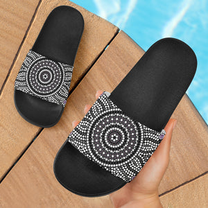 1stAustralia Aboriginal Slide Sandals, Aboriginal Patterns Ver02 (Black)