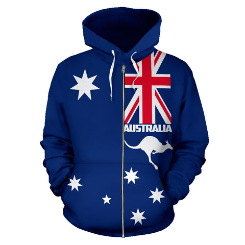 Australia Kangaroo Hoodie (Zip-Up) Blue Version