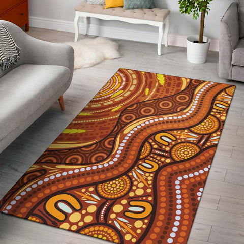 1stAustralia Aboriginal Area Rug - Landscape and The Sun Dot Painting Art