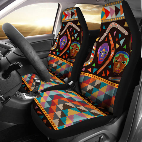 Image of Australia Car Seat Cover Aboriginal Boomerangs With Masks