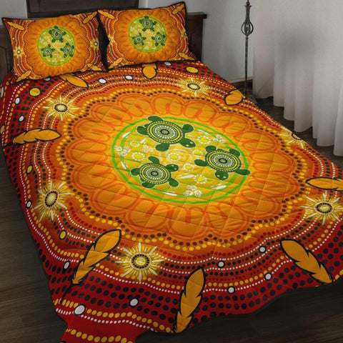 1stAustralia Aboriginal Quilt Bed Set , Turtle Circle Dot Painting Art
