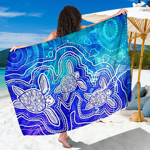 1stAustralia Aboriginal Sarong - Sea Turtle With Indigenous Patterns (Blue)