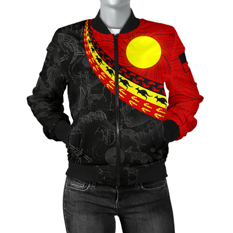 1stAustralia Aboriginal Women's Bomber Jacket, Indigenous Flag Circle Dot Painting