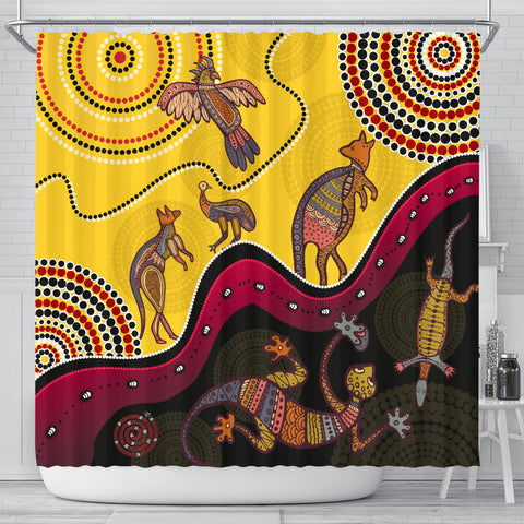 1stAustralia Aboriginal Shower Curtain - Indigenous Animals Life Art