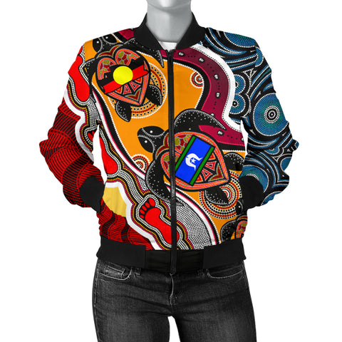 1stAustralia Women's Bomber Jacket - Australia Aboriginal Dots With Turtle and NAIDOC Flags - BN19