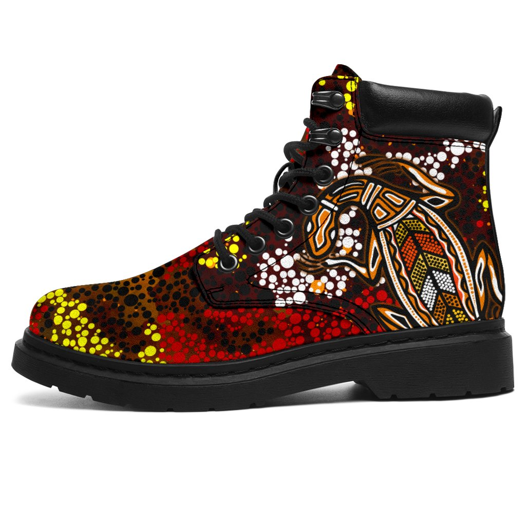1stAustralia Aboriginal All-Season Boots , Kangaroo and Lizard Dot Painting Art