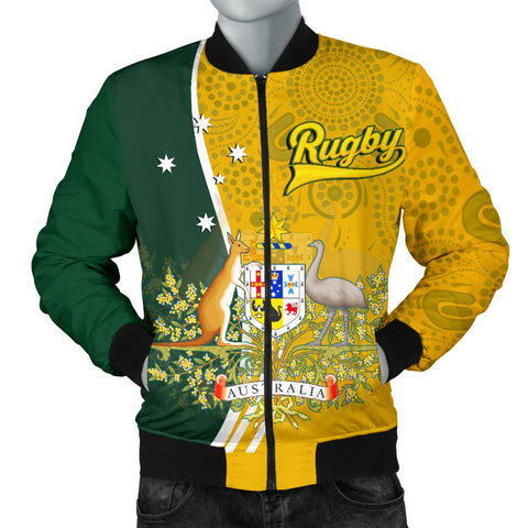 1stAustralia Personalised Men's Bomber Jacket - Australia Coat Of Arm In Rugby Style
