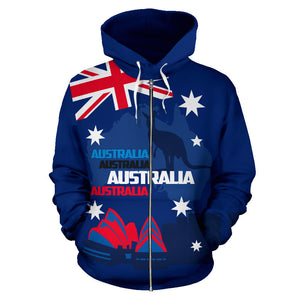 Australia Kangaroo Hoodie (Zip-Up) Sydney Opera House Map