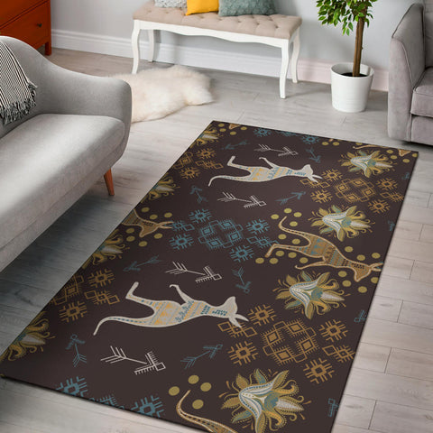 Australia Bohemian Area Rug - Kangaroo Pattern And Tribal Ornaments