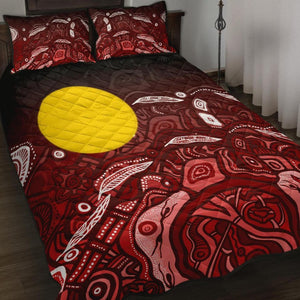 1stAustralia Aboriginal Quilt Bed Set - Red Landscape