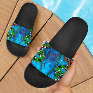 1stAustralia Slide Sandals - Aussie Indigenous Patterns Blue (black)
