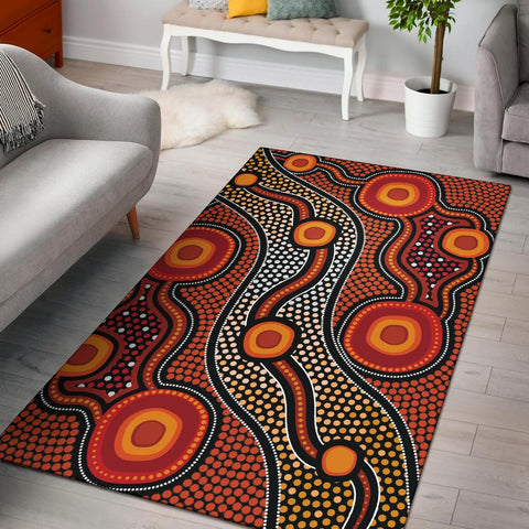 1stAustralia Aboriginal Area Rug - Landscape Circle Dot Painting Art