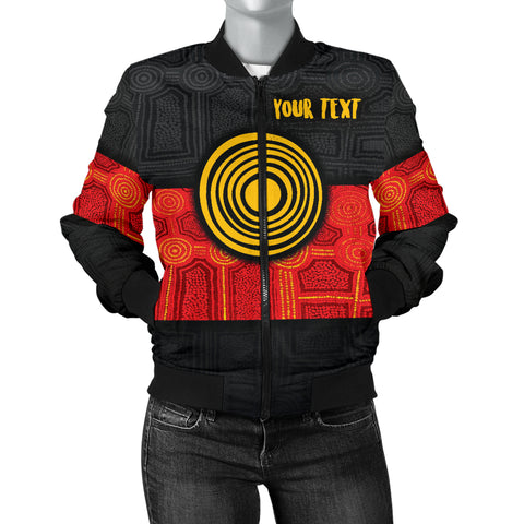 1stAustralia Personalised Aboriginal Women's Bomber Jacket - Aussie Indigenous Flag