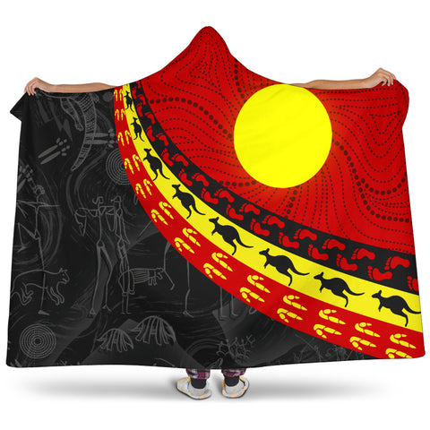 1stAustralia Aboriginal Hooded Blanket, Indigenous Flag Circle Dot Painting