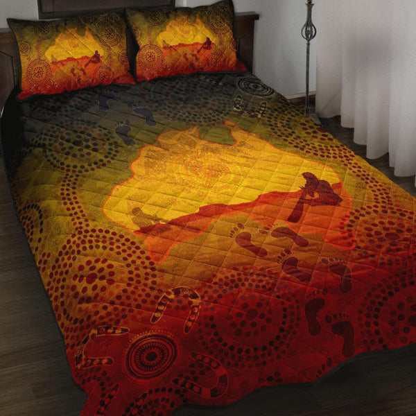 1stAustralia Aboriginal Quilt Bed Set, Australian Map with  Indigenous Color