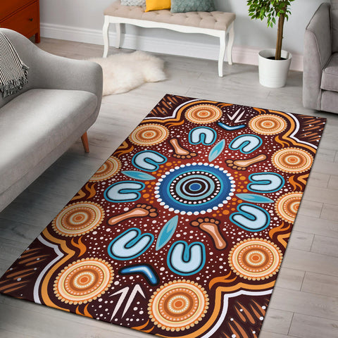 1stAustralia Aboriginal Area Rug - Indigenous Circle Dot Painting Ver02