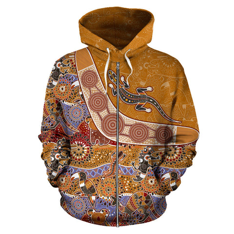 Australia Aboriginal Hoodie (Zip-Up) Pattern Style