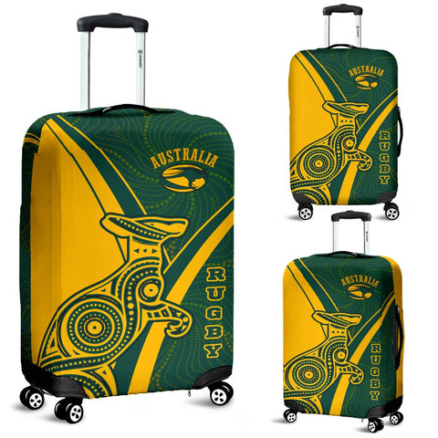 1stAustralia Rugby Luggage Cover - Australian Rugby Kangaroo & Aboriginal Patterns