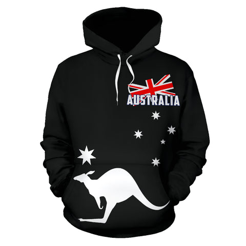 Australia Flag Hoodie Kangaroo - Black Version