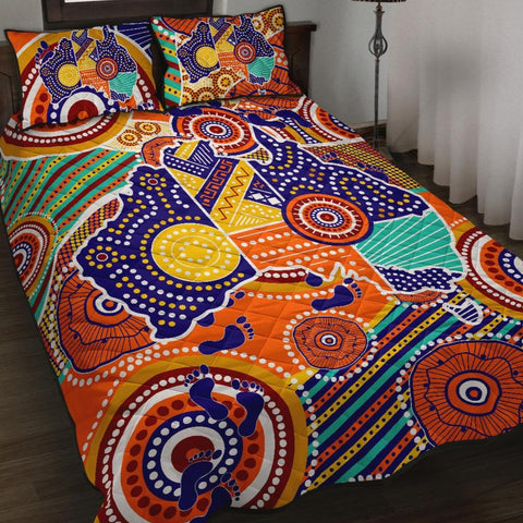 1stAustralia Aboriginal Quilt Bed Set, Australian Map Dot Painting
