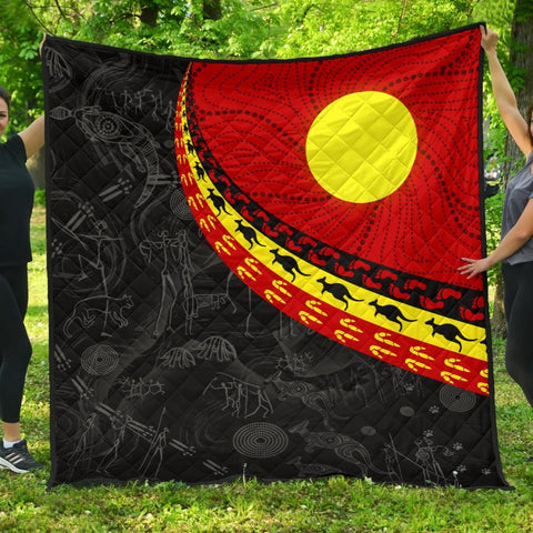 1stAustralia Aboriginal Premium Quilt, Indigenous Flag Circle Dot Painting