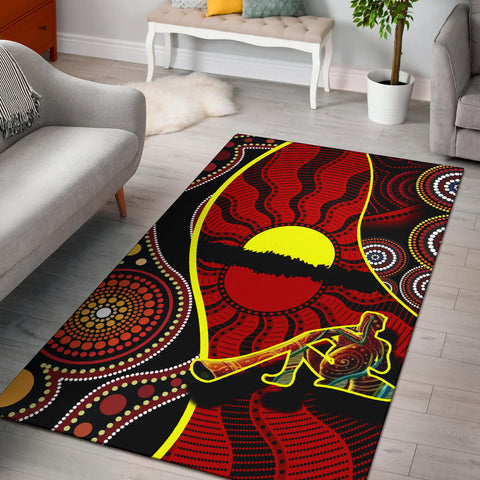 1stAustralia Area Rug - Australia Aboriginal Dots With Didgeridoo - BN19