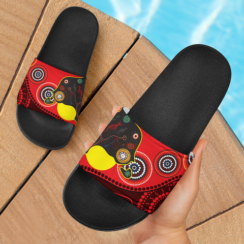 1stAustralia Slide Sandals - Australia Map & Aboriginal Dot Painting - BN17