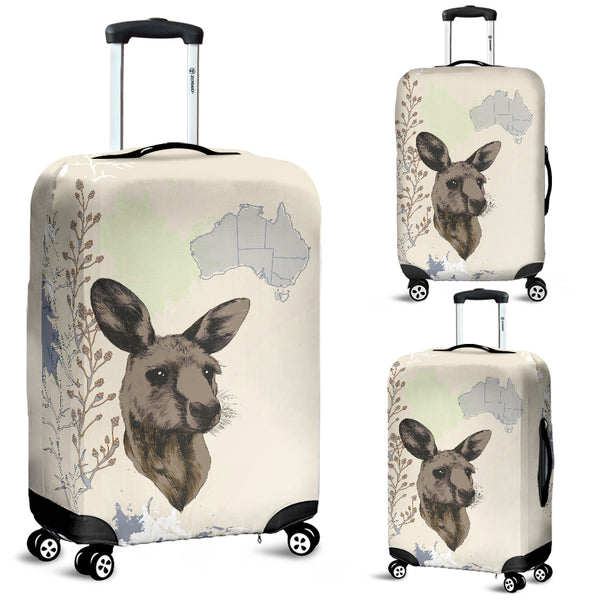 Australia Kangaroo Luggage Cover With Map