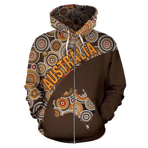 Australia Zip-Up Hoodie Aboriginal Wave Map TH95