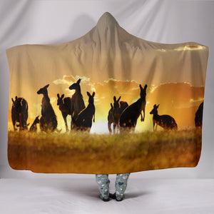 Kangaroo Under Sunset Hooded Blanket