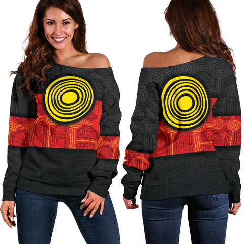 1stAustralia Aboriginal Women's Off shoulder Sweater - Aussie Indigenous Flag