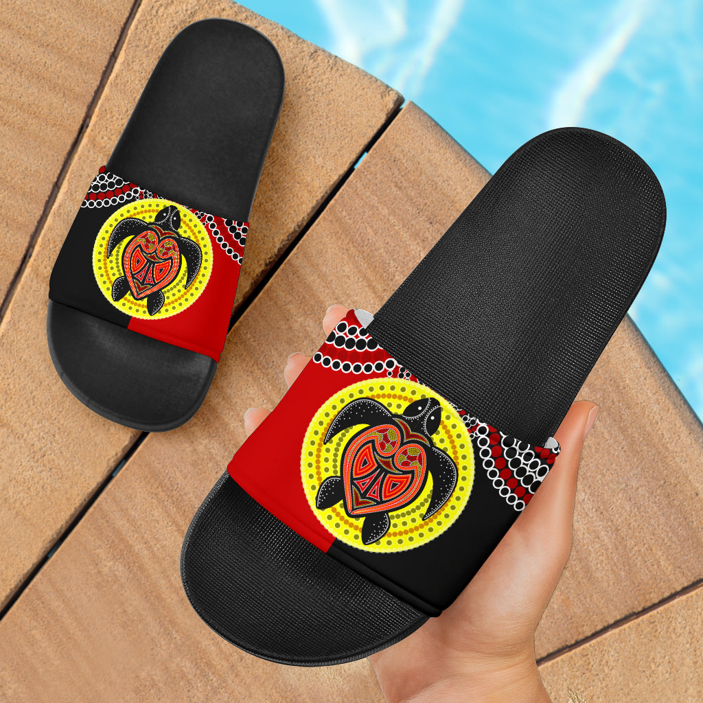1stAustralia Aboriginal Slide Sandals, Turtle Footprint Circle Dot Painting