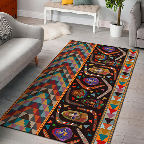 Australia Area Rug Aboriginal Boomerangs With Masks