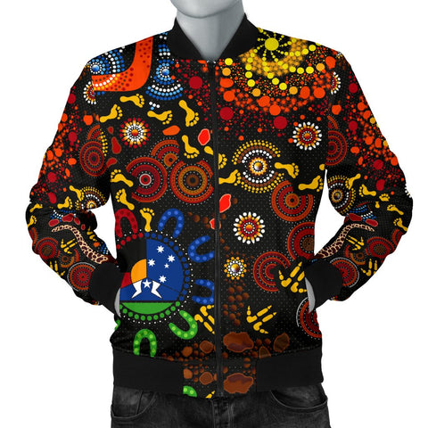 1stAustralia Aboriginal Men's Bomber jacket - Indigenous Footprints