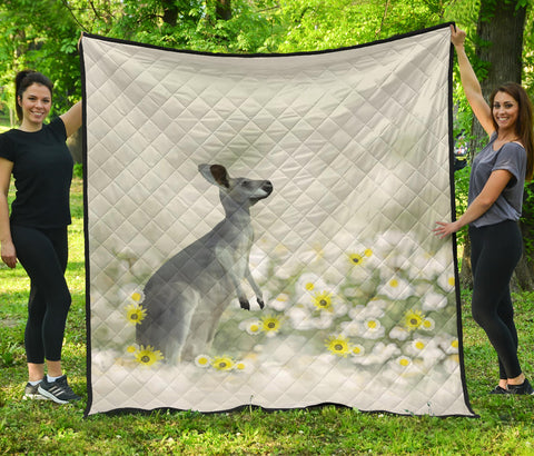 Image of Australia Premium Quilt Kangaroo With Flowers