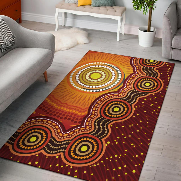 1stAustralia Aboriginal Area Rug - Sunrise Aboriginal Art