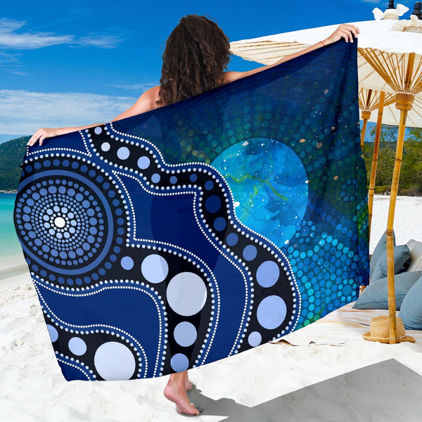 1stAustralia Aboriginal Sarong - Australia Indigenous Flag Circle Dot Painting Art (Blue)