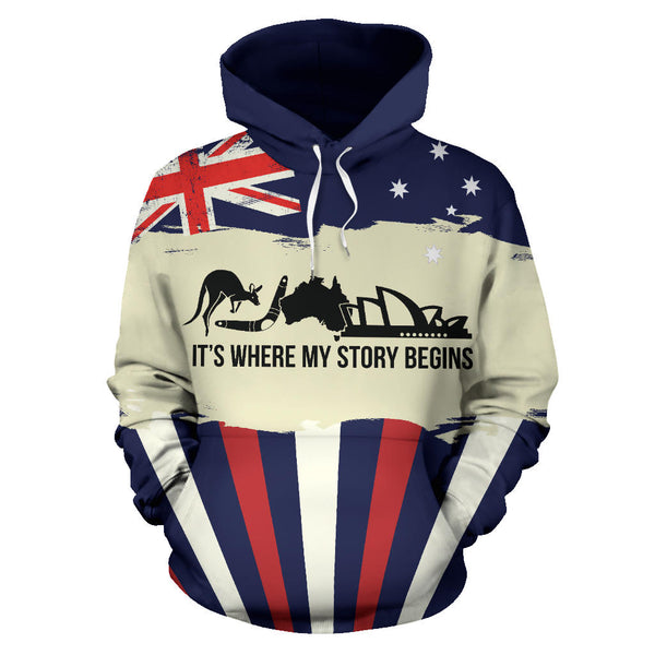 Australia Where My Story Begins with Navy color Hoodie - Front - For Men and Women