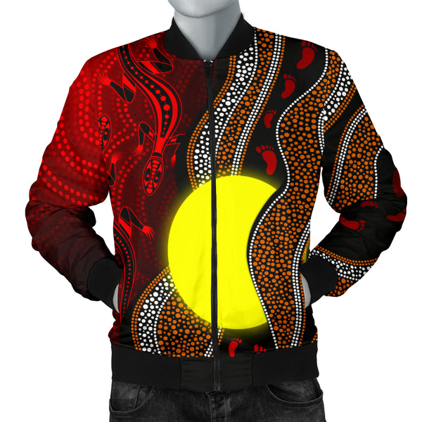 1stAustralia Aboriginal Men Bomber Jacket - Aboriginal Flag Lizard Dot Painting Style
