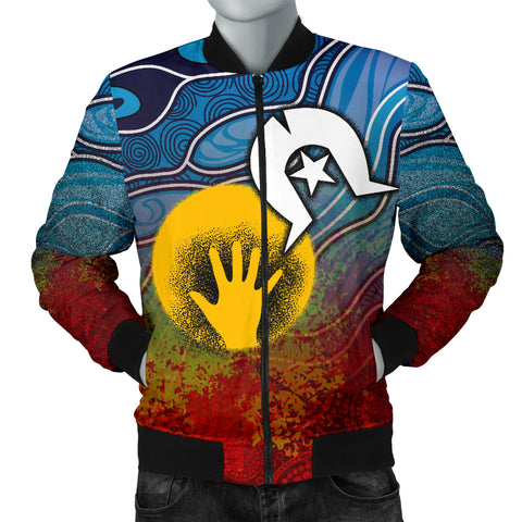 1stAustralia Aboriginal Men's Bomber Jacket - Aboriginal and Torres Strait Islanders Flag