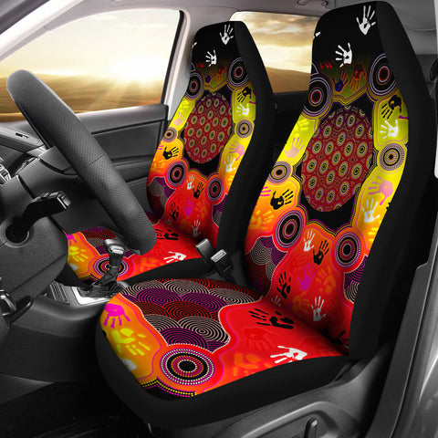 1stAustralia Aboriginal Car Seat Covers, Indigenous Circle Dot Painting Hand Art