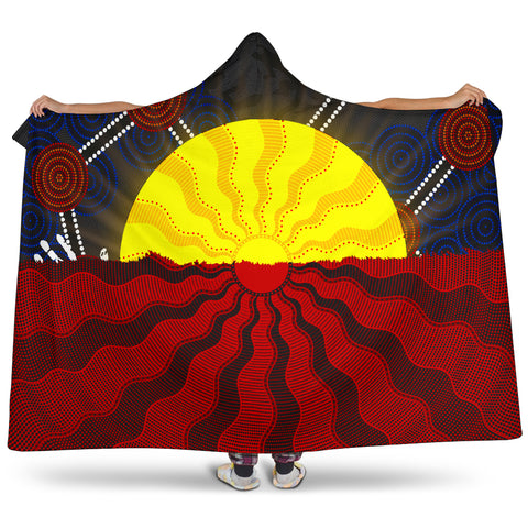1stAustralia Aboriginal Hooded Blanket, Australia Indigenous Flag Sun Dot Painting